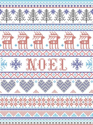 Simple Noel Christmas pattern with Scandinavian,  Nordic festive winter pasterns in cross stitch with heart, snowflake, snow, Christmas tree, reindeer, forest, star, snowflakes in gray , red, blue,