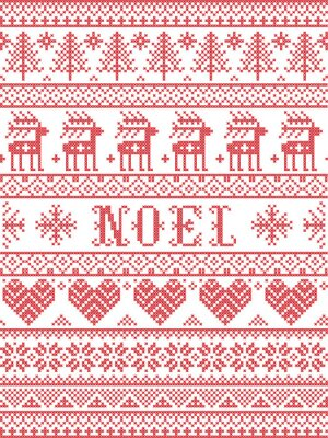 Simple Noel Christmas pattern with Scandinavian,  Nordic festive winter pasterns in cross stitch with heart, snowflake, snow, Christmas tree, reindeer, forest, star, snowflakes in white and red