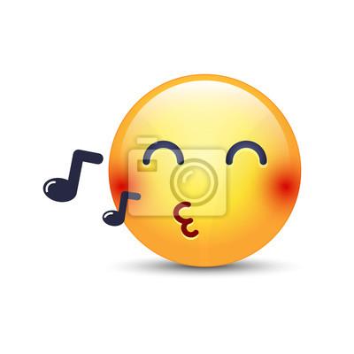 Papiers Peints Singing Smiley Face Emoji Siffle Une Chanson émoticône De Dessin