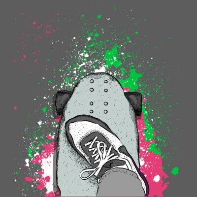 Papiers peints Skateboarder sur une planche à roulettes. Grunge, fond, taches Illustration vectorielle