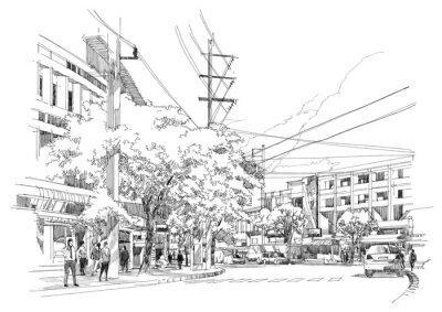 Papiers peints sketch drawing of city street.Illustration.