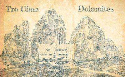 Papiers peints Sketch of Dreizinnen hut in Tre Cime, Dolomites