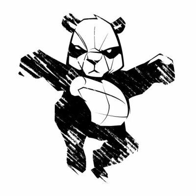 Papiers peints Sketch panda martial arts