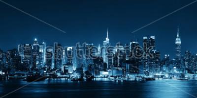 Papiers peints Skyline de Midtown Manhattan en noir et blanc au panorama sur la rivière Hudson