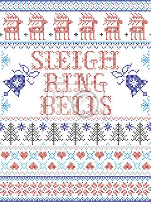Sleigh Bell Ring carol lyrics Christmas pattern with Scandinavian Nordic festive winter pattern in cross stitch with heart, snowflake, Christmas tree, reindeer, forest, star, snowflakes in  red, blue