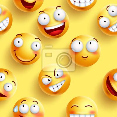 Smileys Fond Decran Transparente En Couleur Jaune Avec Des Visages Papier Peint Papiers Peints Emoticones Continue Smileys Myloview Fr