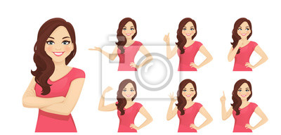 Papiers peints Smiling beatiful woman with curly hairstyle set with different gestures isolated