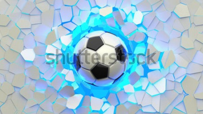 Papiers peints Soccer ball crash blue lighting white wall. The wall was cracked. 3D illustration. 3D high quality rendering.