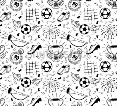 Papiers peints Soccer vector background. Vector illustration of seamless football wallpaper pattern for your design