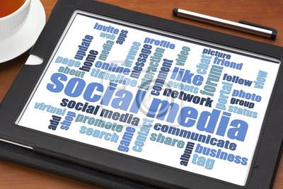 Papiers peints social media word cloud on tablet