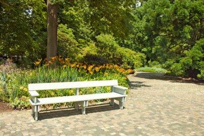 Papiers peints Solitaire banc en bois dans le parc.