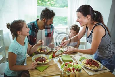 Papiers peints Sourire, femme, portion, repas, famille