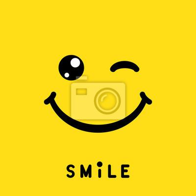 Papiers peints Sourire signe, icône, étiquette, logo, symbole sur fond jaune. Illustration vectorielle