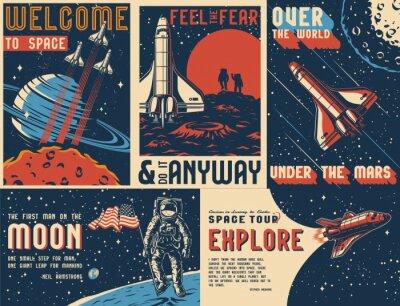 Papiers peints Space exploration vintage colorful posters