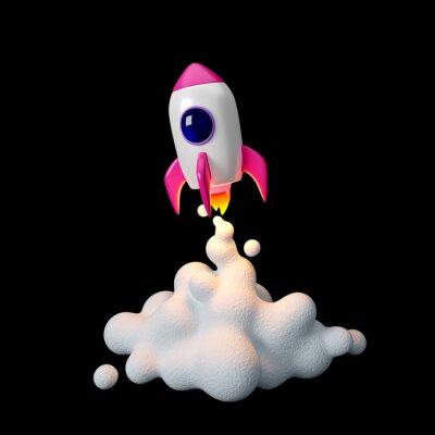 Papiers peints Space rocket launch. 3d render