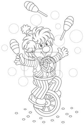 Coloriage Clown Drole.Papiers Peints Spectacle De Cirque Dun Clown Drole Jongler Avec Des Quilles