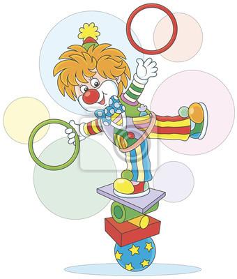 Spectacle De Cirque D Un Jongleur Comique Equilibriste