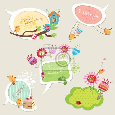 Speech bubbles avec des oiseaux drôles et des fleurs