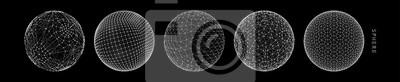 Papiers peints Sphère avec lignes connectées. Connexions numériques globales. Illustration filaire. Conception abstraite de la grille 3d. Style de la technologie.