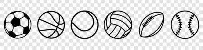 Papiers peints Sport balls set. Ball icons. Balls for Football, Soccer, Basketball, Tennis, Baseball, Volleyball. Vector illustration