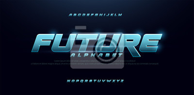Papiers peints sport future blue glow modern alphabet fonts. technology typography bold and italic font uppercase. vector illustration