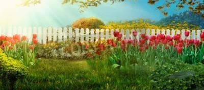 Papiers peints Spring garden. Red tulips in garden Spring grass with flowers