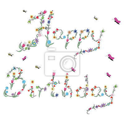 Spring Happy Birthday sign in colour