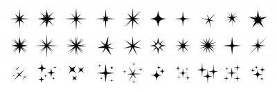Papiers peints Star icons. Twinkling stars. Sparkles, shining burst. Christmas vector symbols isolated