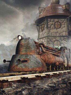 Papiers peints Stara zardzewiała Lokomotywa na tle wieży