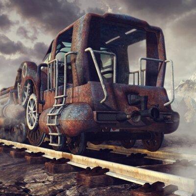 Papiers peints Stary zardzewiały pociąg w górskiej scenerii