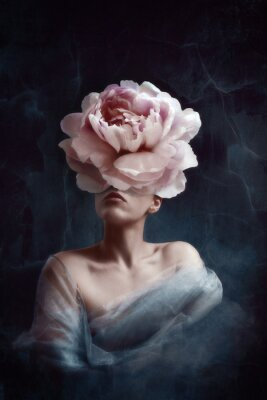 Papiers peints Strange fine art concept. The body of a woman, her head is a peony