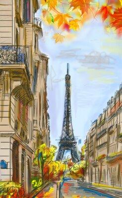 Papiers peints Street à l'automne à Paris. L'illustration de la Tour Eiffel