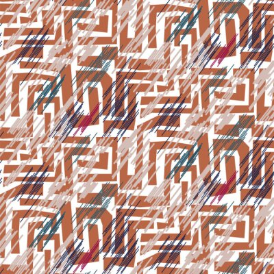 Stroked mosaic maze shapes abstract seamless pattern. Terracotta color repeat background for wrap, textile and print design.