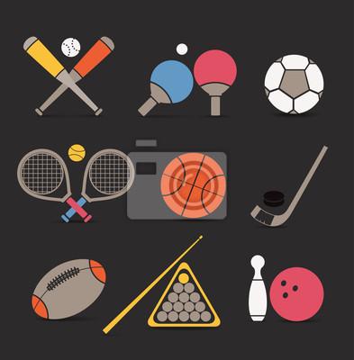 Style abstrait équipements sportifs icônes de couleur