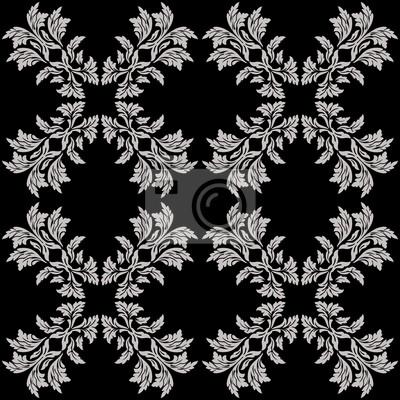 Style Baroque Vintage Seamless Noir Blanc Papier Peint Papiers