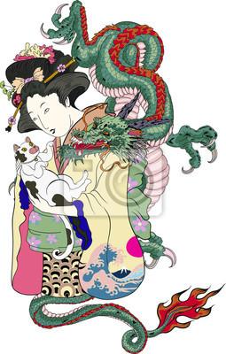 Style De Tatouage Japonais Traditionnel Femmes Japonaises En Papier