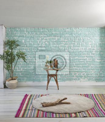 Style Penthouse Moderne Avec Mur Turquoise Decoration Maison Papier