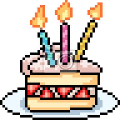 Papiers Peints Sucré De Gâteau Aux Fraises Vectoriel Pixel Art