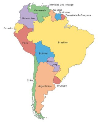 Papiers peints Südamerika Karte dans Farbe (avec Beschriftung)