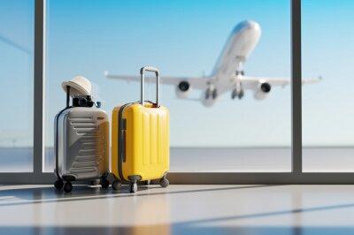 Papiers peints Suitcases in airport. Travel concept. 3d rendering