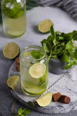 summer mojito lemonade with lime and mint