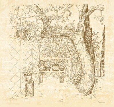 Papiers peints Summer patio ensoleillé dans le stylo style art doodle. Main, dessiné, croquis, toile, texturé, fond