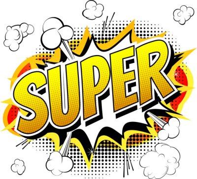 Papiers peints Super - Comic mot de style livre isolé sur fond blanc.