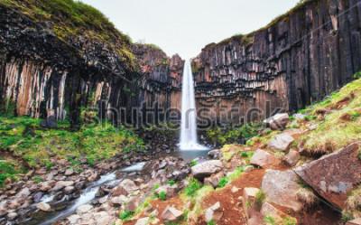 Papiers peints Superbe vue sur la cascade de Svartifoss. Scène dramatique et pittoresque. Attraction touristique populaire. Islande, Europe