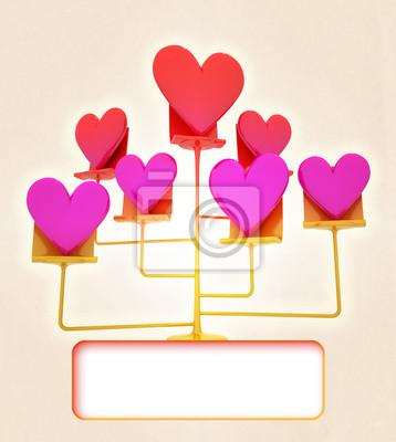 support d'or de rose rouge carte de coeurs