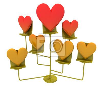 support métallique avec des coeurs rouges et or