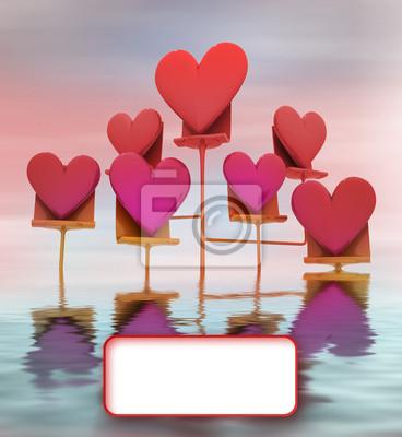 support métallique dans l'eau de rose rouge carte de coeurs