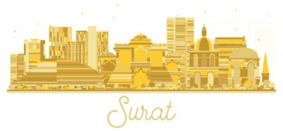 Papiers peints Surat India City skyline silhouette dorée.