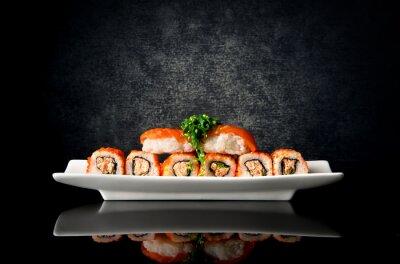 Papiers peints Sushi, rouleaux, plaque