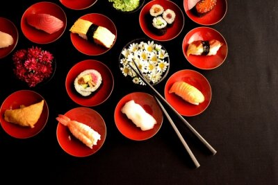 Papiers peints Sushi with chrysanthemums